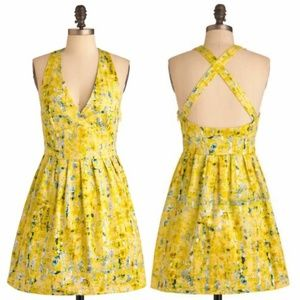 Jack. By BB Dakota Yellow Cross Back Mini Dress